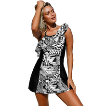 2pcs Fashion Dress Swimwear Women One Shoulder Floral Printed Padded Flouncing Swimsuit Frill Beach Wear
