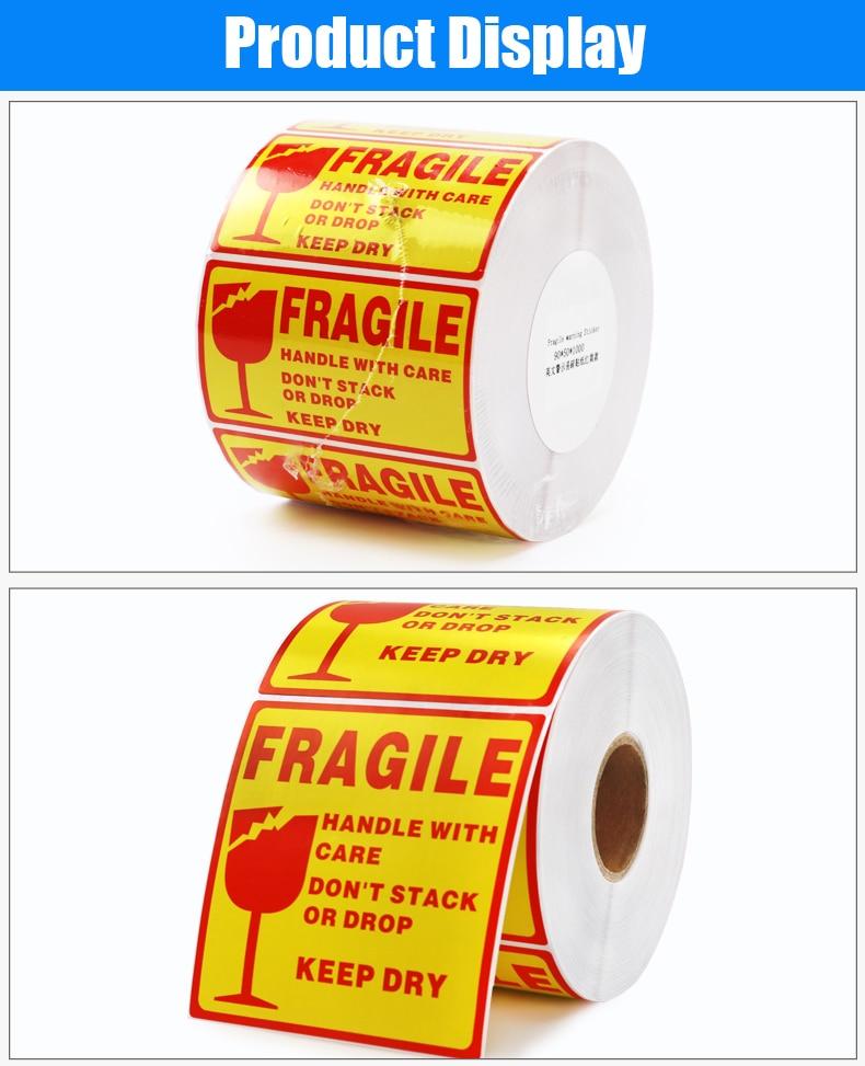 Etiquetas de advertência frágeis da etiqueta do