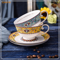1 set Milk Coffee Cup Set European Personality Coffee Tea Cup With Saucer Afternoon Tea Cup tea cups and saucers 5ZDZ475