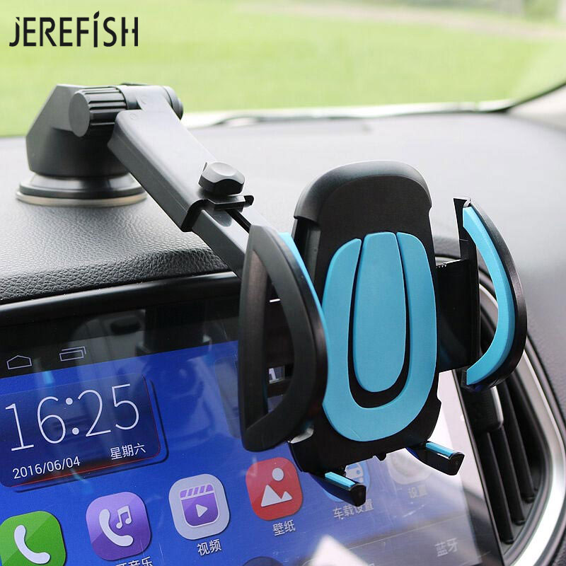 JEREFISH Car Phone Holder Smartphone Accessories Mount Stand Soporte Celular Para Auto Dashboard Suction Cup Windshield Glass