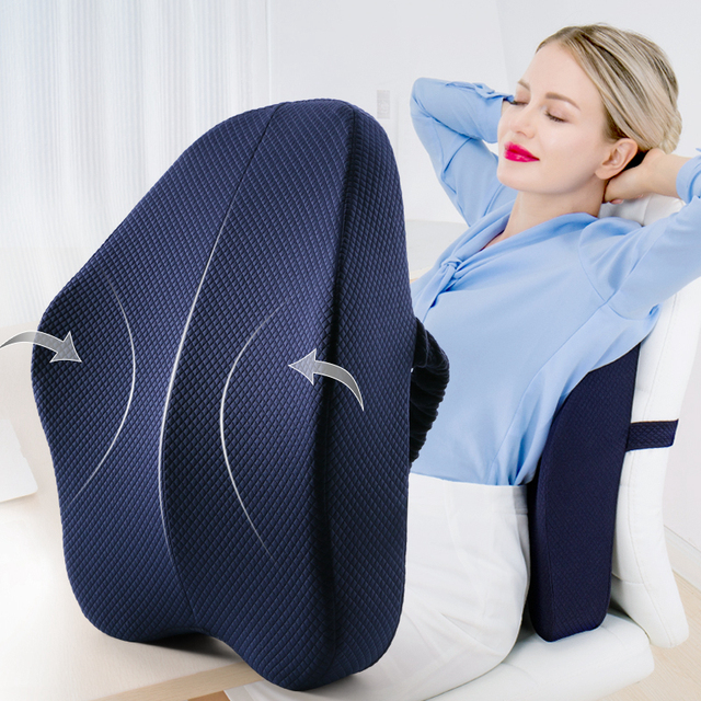 Memory Foam Lumbar Support Back Cushion Firm Pillow for Computer/Office Chair Car Seat Recliner Lower Back Pain Sciatica Relief