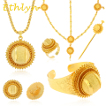 Ethlyn big  Ethiopian bridal  jewelry sets 24k Gold plated hair jewelry 6pcs sets & African jewelry for Ethiopian women