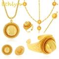 Ethlyn grande Etíope nupcial conjuntos de jóias 24 k banhado a Ouro conjuntos de jóias cabelo 6 pcs & jóias Africano para Etíope mulheres
