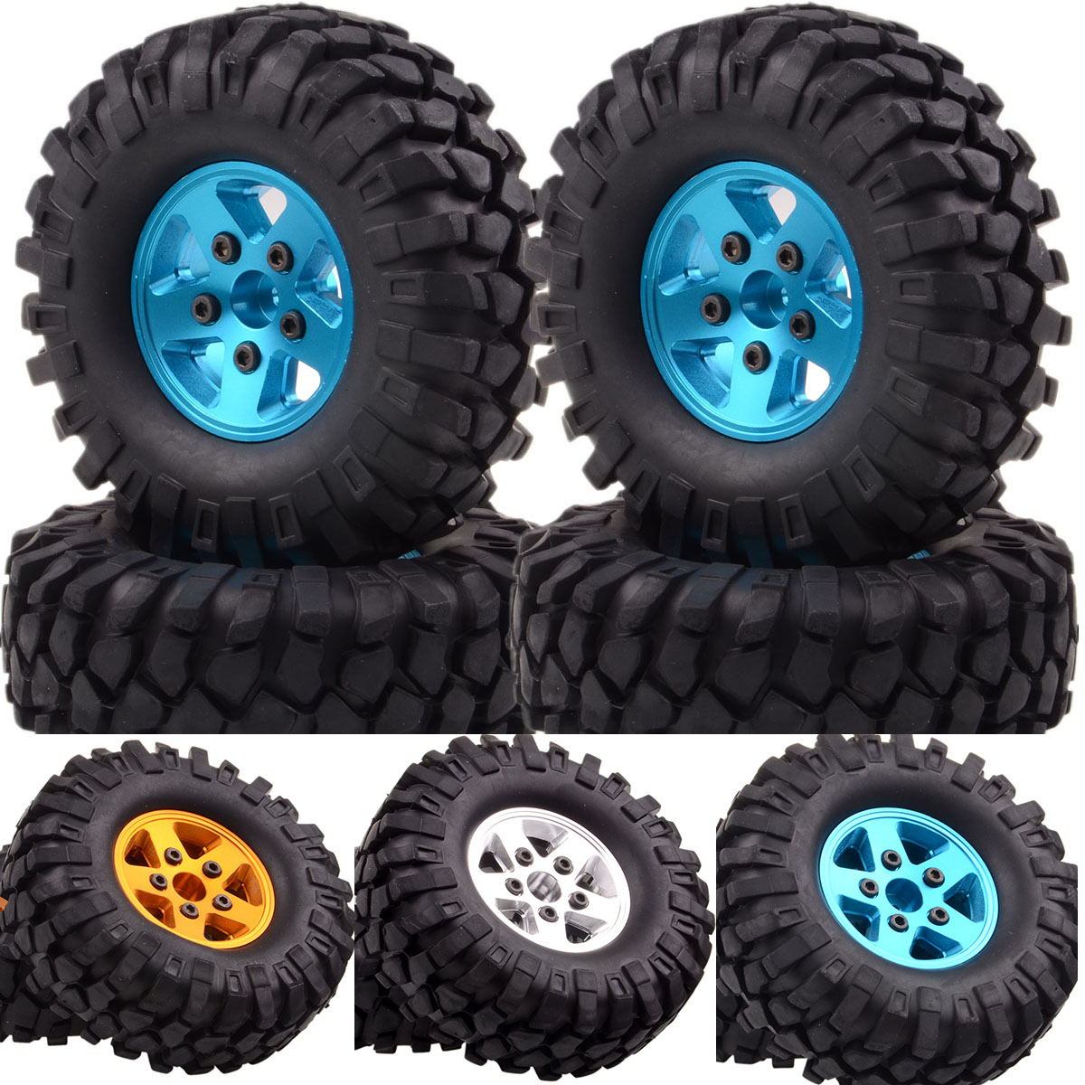 109-7032 4PCS 1.9 Metal Rock Crawler Wheel/Rim & Tyre 108MM For RC 1/10 Axial Tamiya HSP 1:10 free shipping 4pcs lot 1 9 inch wheels tire tyre for rc car model crawler tamiya cc01 f350 rc 4wd axial scx10t etc