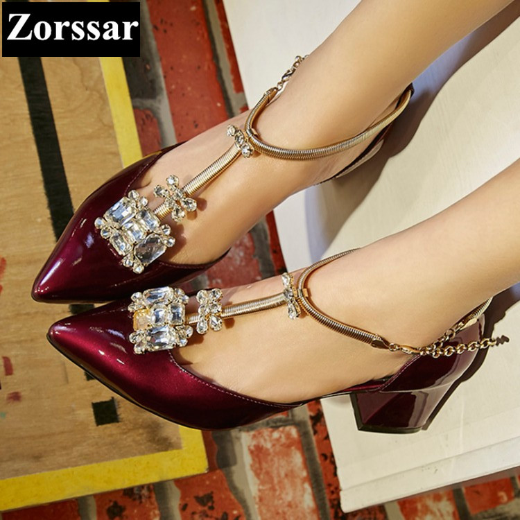 ФОТО BIG SIZE 33-43 Womans shoes Pointed Toe rhinestone high heels sandals women pumps 2017 Fashion Patent Leather womens shoes