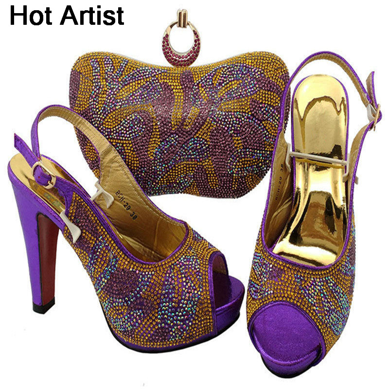 Hot Artist Fashion Rhinestone Woman Shoe And Matching Bag Set Italy Style Pumps Shoes And Bag Set For Party Free Shipping BCH-29  hot artist african style slipper shoes and matching bag set fashion rhinestone ladies pumps shoes and bag set for party me7708
