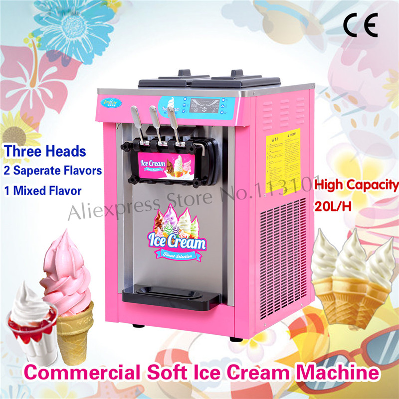 Pink Color Soft Ice <font><b>Cream</b></font> Machine <font><b>Sorbet</b></font> Sherpa Maker Digital Control System with Cones Counter 220V 3 Heads