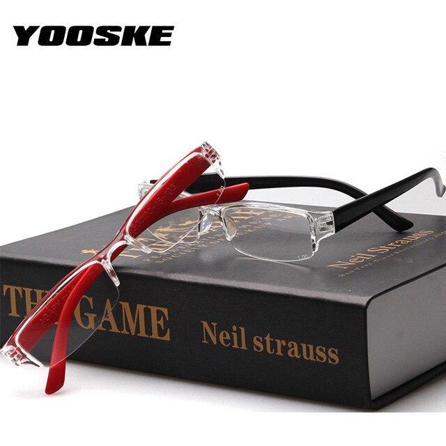 YOOSKE Ultra-light Reading Glasses Women Semi-frame Eyeglasses Men Resin Anti-fatigue Lens Eyewear Diopter 1.0 1.5 2.0 2.5 3.0