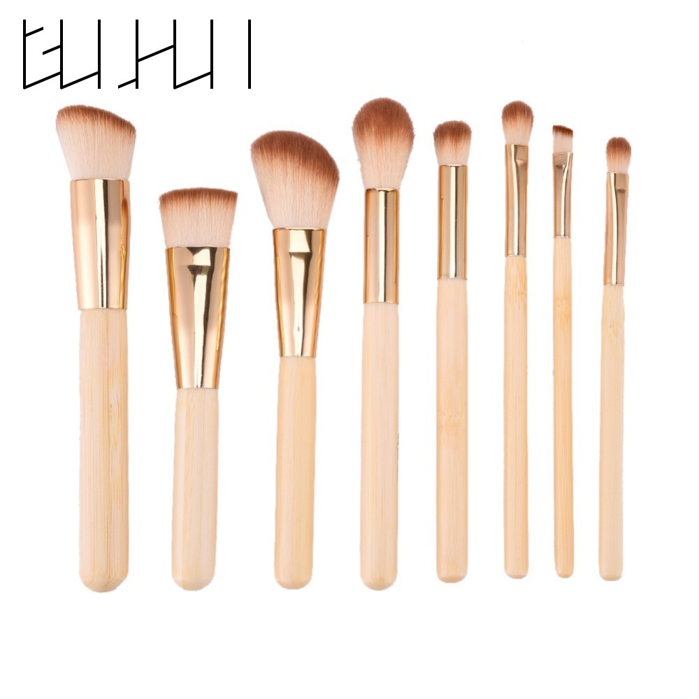 Hot Selling 8pcs Bamboo Handle Makeup Brush Set Foundation Powder Face Blush Eyeshadow Blend Beauty Cosmetic Makeup Tool Kit wood grain flannel skidproof vintage rug