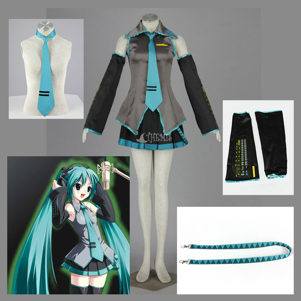Vocaloid anime cosplay costume Hatsune Miku Turn-down Collar Suit Girls Dress Shirt Pleated Skirt hairpin for child women