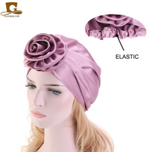 New Women silky turban flower headscarf chemo cap Muslim Fashion Headbands Hair Accessories