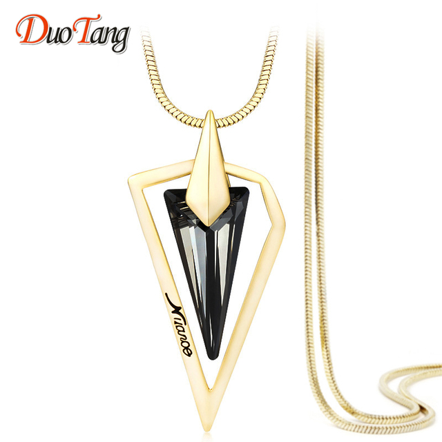DuoTang Gold And Silver Long Necklace Vintage Triangle Snake Chain Crystal  Pendant Necklace Women Fashion Jewelry 7db6c456ec3e