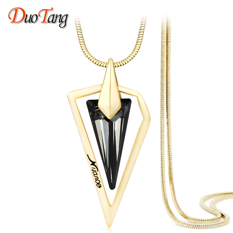 DuoTang Gold And Silver Long Necklace Vintage Triangle Snakes