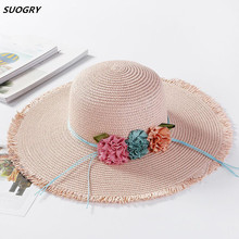 New Cute mom and girl flower big brim foldable sun hats beach hand made round top straw hat casual shade summer cap
