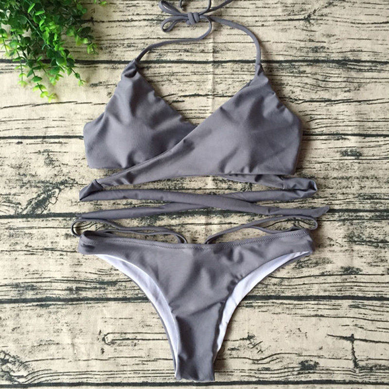 Bikini 2017 New Arrival Swimwear Women Bikini Set Cross Bandage Beach Bathing Suit Top Low Waist Swimsuit Push Up Brazilian Suit 4
