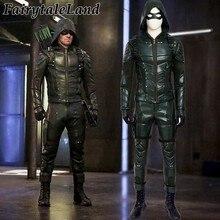 9b289c491055c3 Green Arrow season 5 cosplay costume Adult men fancy Halloween costumes  Oliver Queen Green Arrow Costume leather battle suit