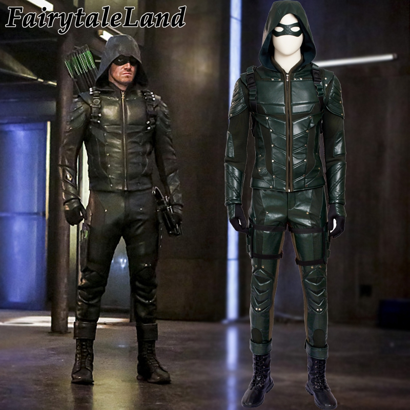 Green Arrow Season 5 Cosplay Costume Adult Men Fancy Halloween Costumes Oliver Queen Green Arrow Costume Leather Battle Suit