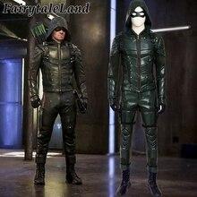 Зеленая Стрела сезон 5 косплэй костюм для взрослых для мужчин Необычные костюмы на Хэллоуин Оливер queen Костюм Зеленой Стрелы кожа боевой