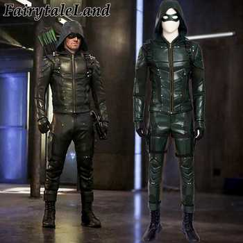 Green Arrow season 5 cosplay costume Adult men fancy Halloween costumes Oliver Queen Green Arrow Costume leather battle suit - DISCOUNT ITEM  0% OFF All Category