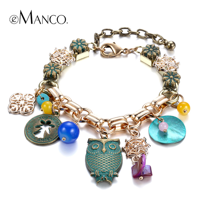 eManco 2015 Cute animal bracelets gold charms women bracelets & bangles handmade copper new arrivals hand chain jewelry