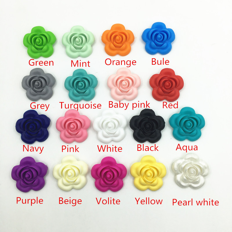 Beads Large Rose Flower Loose Beads For Food Grade Silicone Teething Necklace-silicon Teether Pendant Toys Pleasant To The Palate