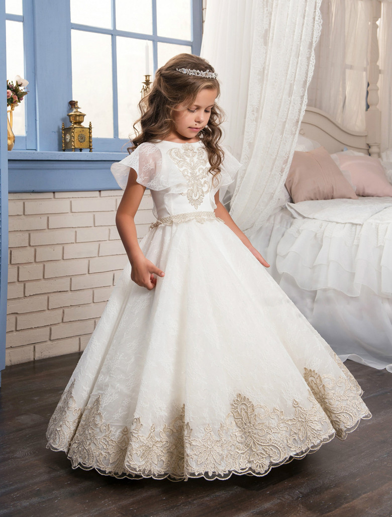 Fancy flower girl dress gold appliques formal christmas for Wedding dresses for young girls