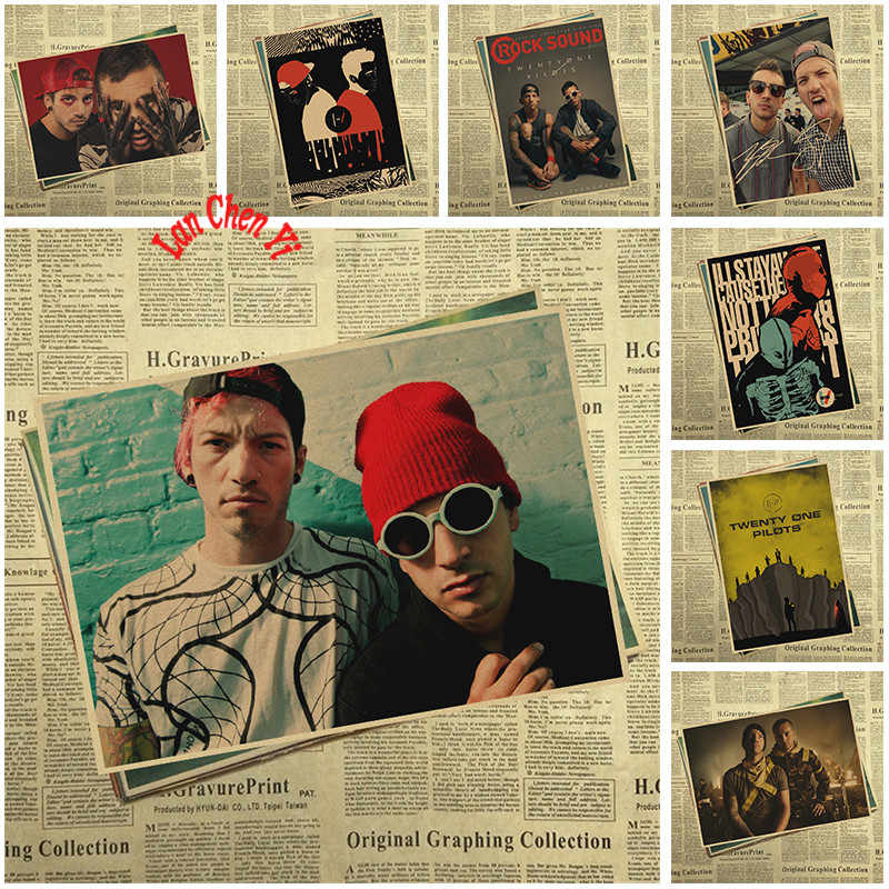 Twenty One Pilots The most popular alternative rock group Kraft Paper Poster Wall Sticker Home Decora