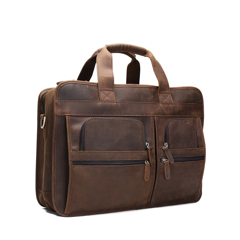 ROCKCOW Full Grain Leather Briefcase Men's Handbag Large Shoulder Messenger Laptop Bags DZ11