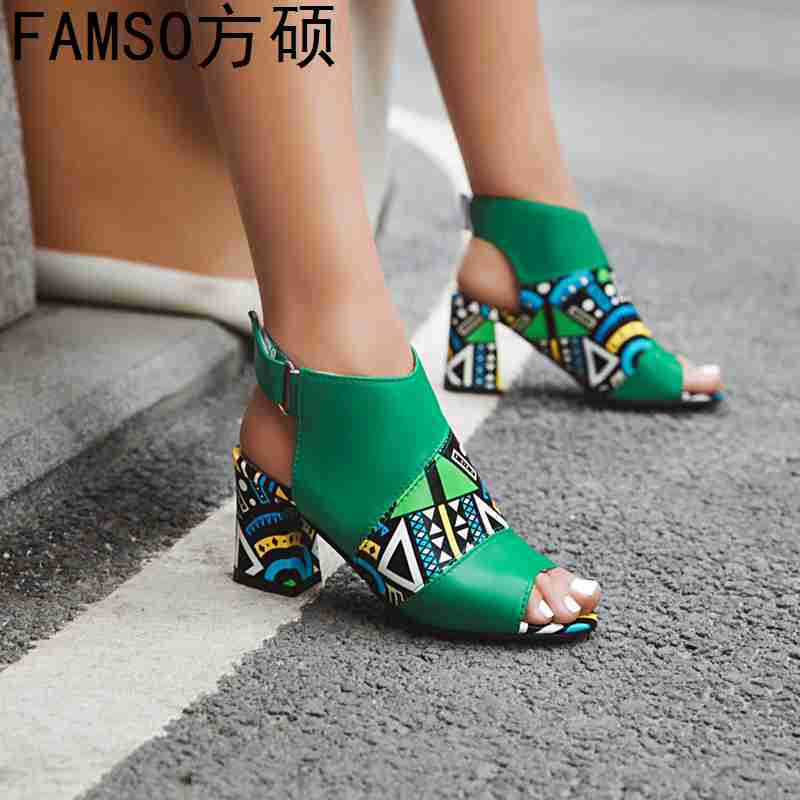 FAMSO 2019 New Shoes Women Sandals Large Size 34 43 Print Brand Shoes Classics High Hoof
