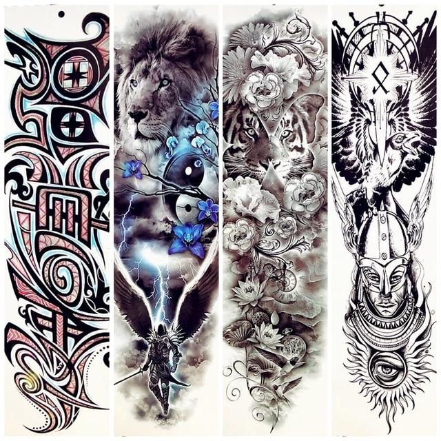 48x17cm Large Body Art Temporary Tattoo Tiger Flower Lion King Dark