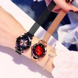 Image 5 - 2019 luksusowe różowe złote zegarki kobiety bransoletka moda diamentowa sukienka damska Starry Sky magnetyczny zegarek kwarcowy relogio feminino