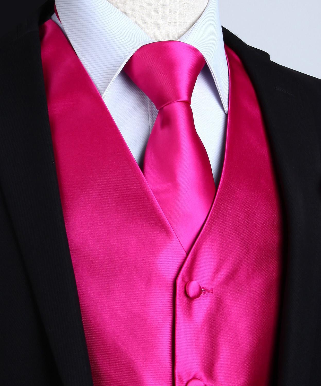 Image 3 - Pocket Square Set Mens Classic Solid Party Wedding NeckTie  Jacquard Waistcoat Vest Pocket Square Tie Suit SetVests   -