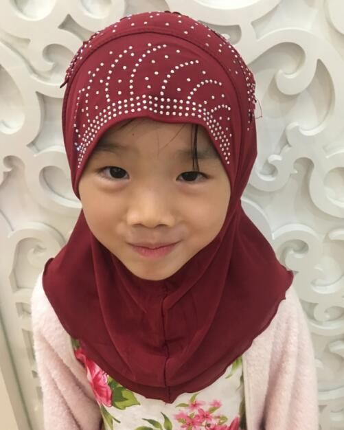 H1255 new style small girl hijab with lace on back,mixed colors,fast delivery