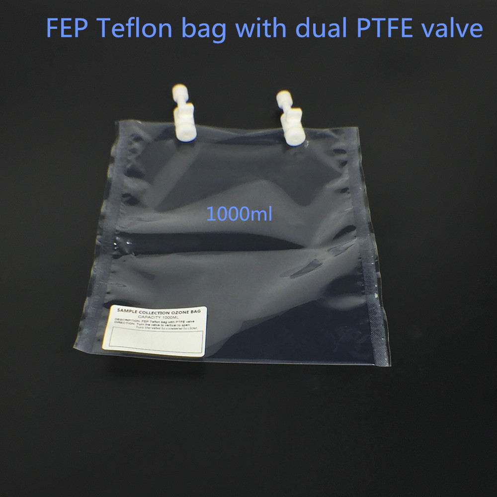 Ozone sampling bag  FEP Teflon with dual PTFE Valve   1000ml 5pcs lot 5 0l pvf gas sampling bag with ptfe valve for corrosive gas or vocs sampling