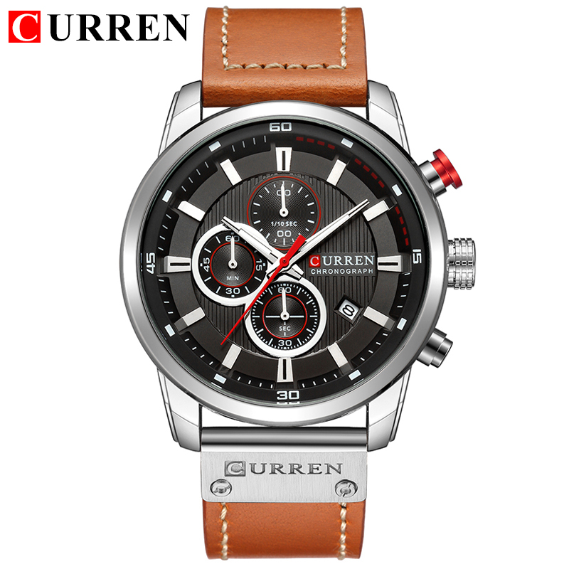 New Mens Watches Fashion Casual Waterproof Chronograph Quartz Watch Men Date Leather Sport Military Male Clock CURREN 8291 ochstin sport watches for men fashion casual chronograph watches men leather sport male quartz watch male clock hour yellow face
