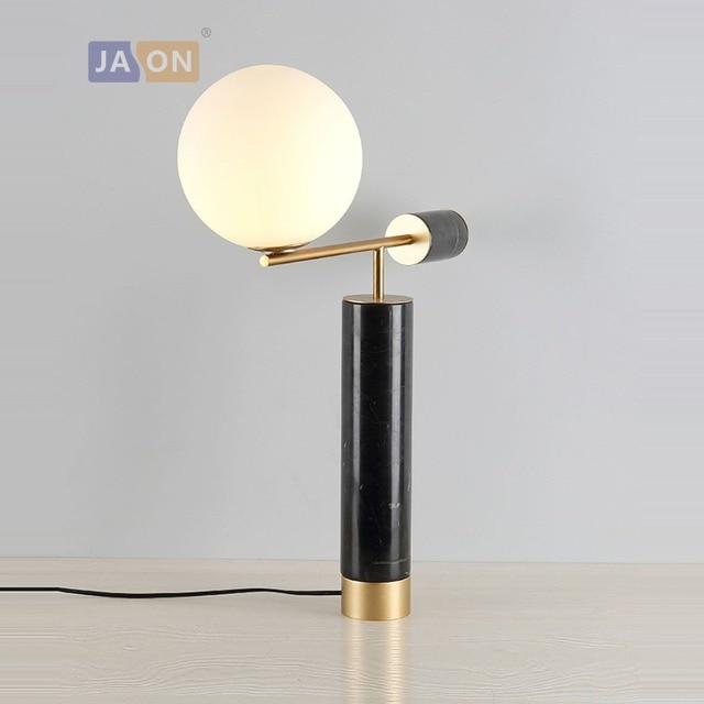 G4 LED Nordic Iron Glass Marble Black Gold LED Lamp.LED Light.Table Light.Table  Lamp.Desk Lamp.LED Desk Lamp For Bedroom