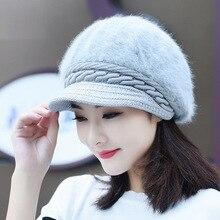 Шапка из искусственного кроличьего меха, осень и зима, Новое поступление, утолщенная теплая вязаная мягкая женская меховая шапка YMY002