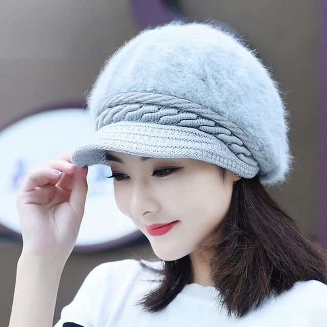 e82e9b3d39f Add wool hat lady han edition otter rabbit hair new winter thickening  thermal knitted cap YMY002