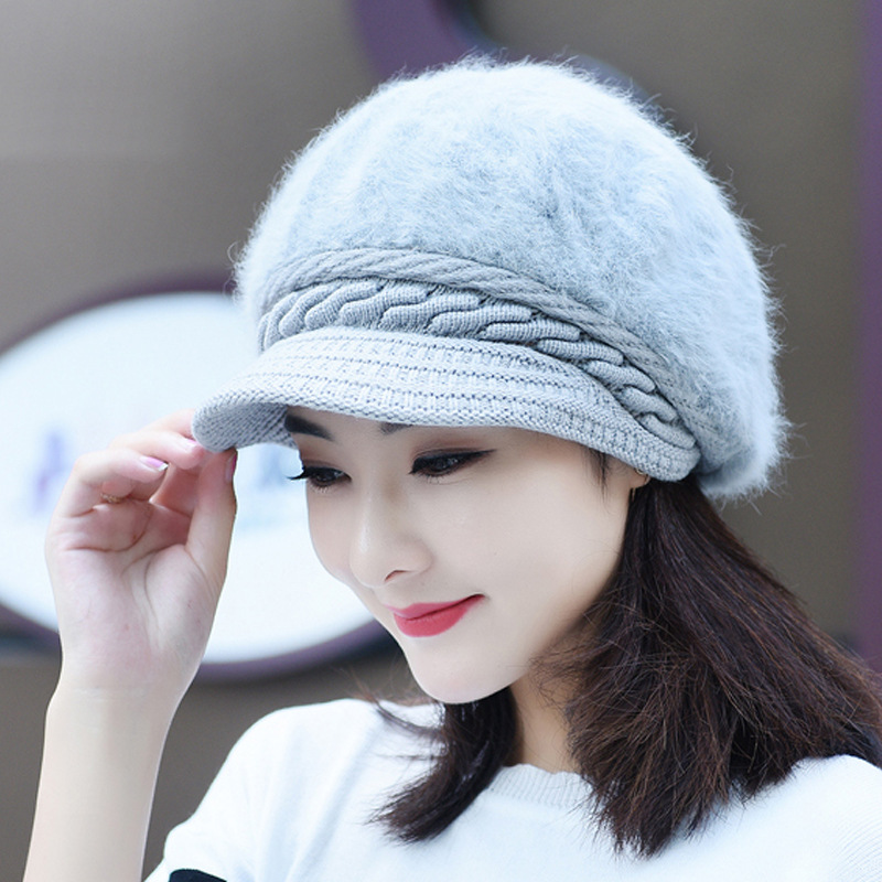 Faux Rabbit  Wool Hat 2019 Autumn And Winter  New Arrival Thickening Thermal Knitted Warm Soft Women Fur Cap YMY002