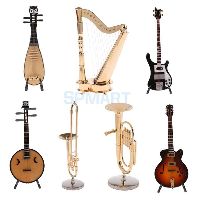7 Options 1/6 Musical Instrument Model Action Figure Dollhouse Accessory Wooden Pipa/Guitar/Bass Copper Tuba/Harp/Trombone