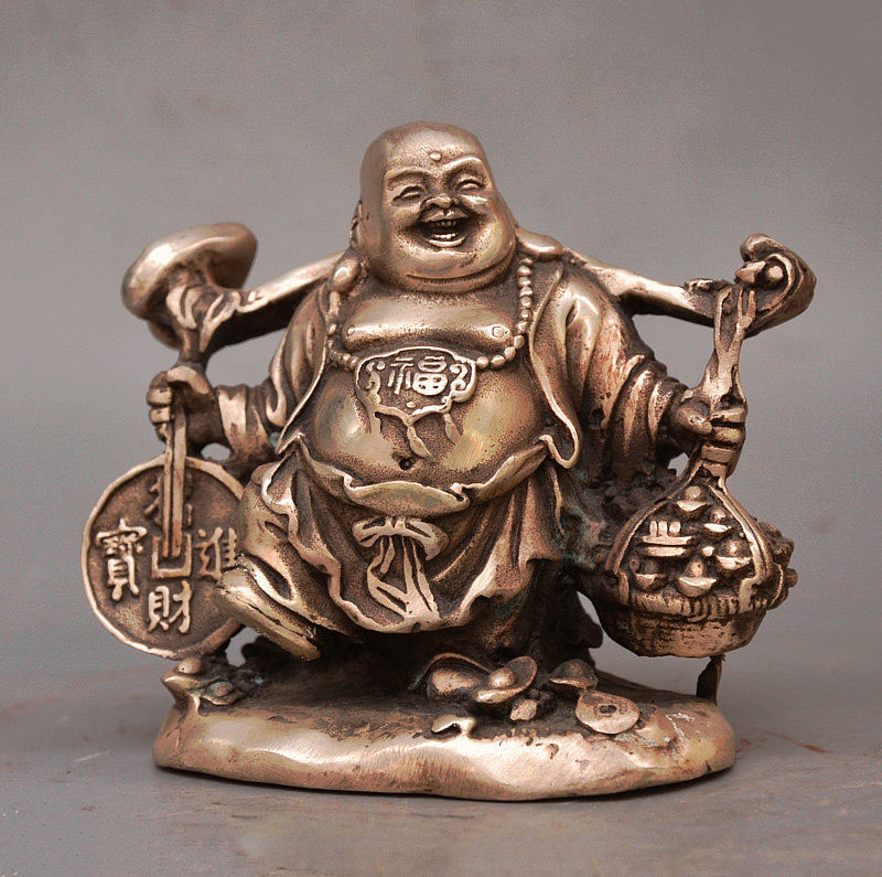4 China Buddhism Temple Silver Wealth Maitreya Buddha Basket Sycee Coin Statue4 China Buddhism Temple Silver Wealth Maitreya Buddha Basket Sycee Coin Statue