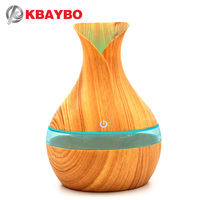 KBAYBO 300ml Aroma Essential Oil Diffuser Ultrasonic Air Humidifier With Wood Grain Electric LED Lights Aroma
