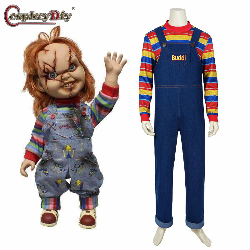 Cosplaydiy Movie Child's Play Seed of Chucky Cosplay Costume Men's Women Halloween Party Horror Cosplay Romper Custom Made
