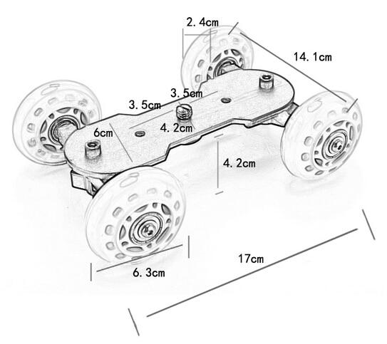 Photography Table Top Compact Dolly Car Kit Skater Wheel Camera