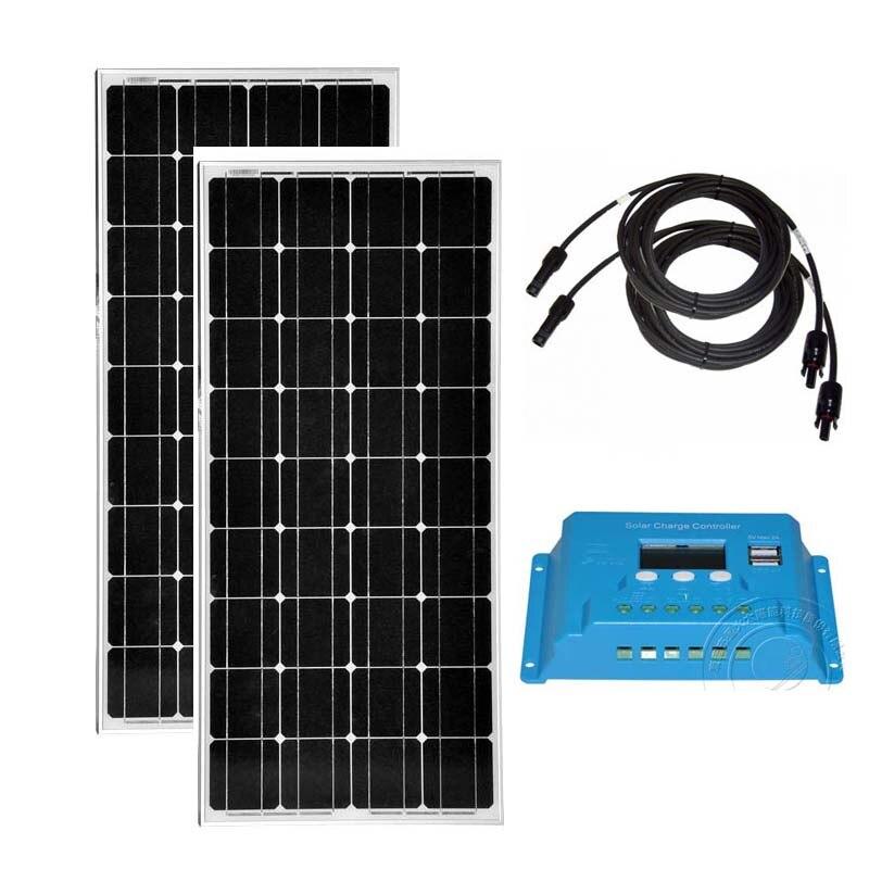 Солнечный Комплект 200 Вт Панели солнечные 12 В 100 Вт 2 шт. Контроллер заряда 12 В/24 В 10A солнечный автомобиль Батарея Зарядное устройство Rv Аксес