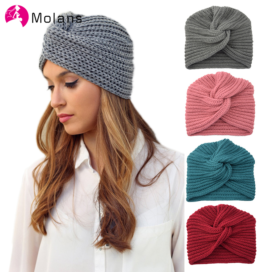 MOLANS Turban Headband Hair-Scarfs Knot Knitting Autumn Winter Women Warm Solid Solid-Center-Cross