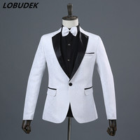 (jacket+pants) Male Suits Gentleman Wedding groom suit dress studio shooting Prom Party Host singer Performance stage costumes