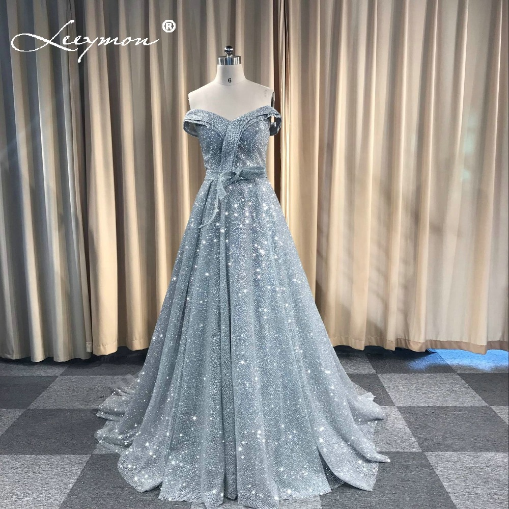 Vintage Robe De Soiree Gray Glitter Sparkling   Evening     Dress   Boat Neck Slit   Evening   Party Long Formal Special Occasion   Dress
