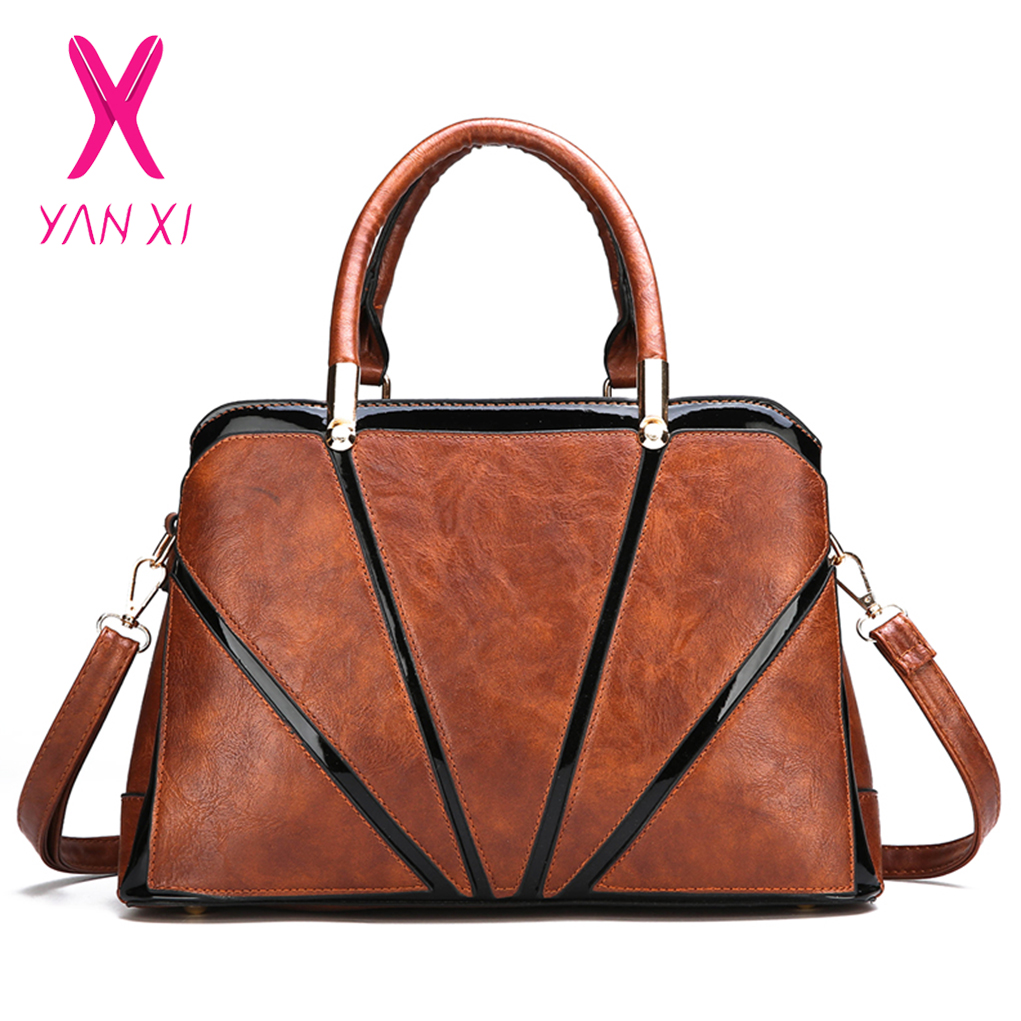 43e73dc20595 YANXI модные для женщин PU кожаные сумочки плеча сумки через плечо Дамы  Сумка Лоскутная Messager