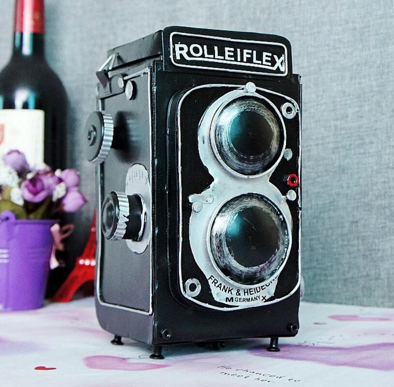 vintage classic Distressed movie antique rolleiflex camera hand made craft model for home coffee bar ornaments decoration
